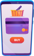 Cell phone with shopping cart, credit card and buy button